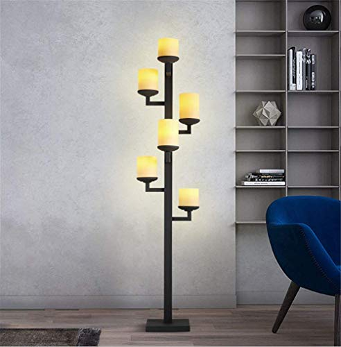 Floor Lamp Led Bulb (Gift) American Creative Imitation Marble Shade 6 Heads Classical Candlestick Wrought Iron Standing Lamp 1.74M with Foot Switch for Living Room Bedroom Office Bedside Reading