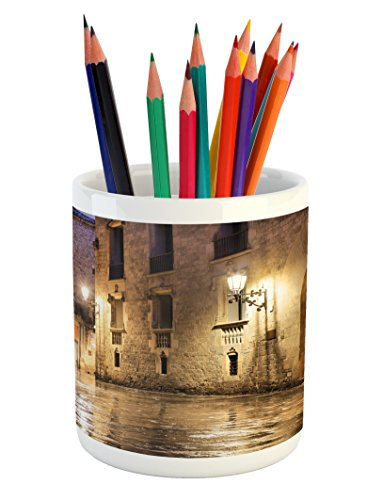 Ambesonne Gothic Pencil Pen Holder, Gothic Ancient Stone Quarter of Barcelona Spain Renaissance Heritage Night Street Photo, Printed Ceramic Pencil Pen Holder for Desk Office Accessory, Cream by Ambesonne