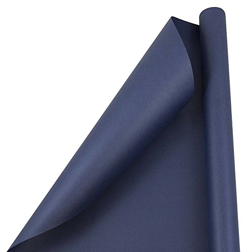 JAM PAPER Gift Wrap - Matte Wrapping Paper - 25 Sq Ft - Matte Cobalt Navy Blue - Roll Sold Individually