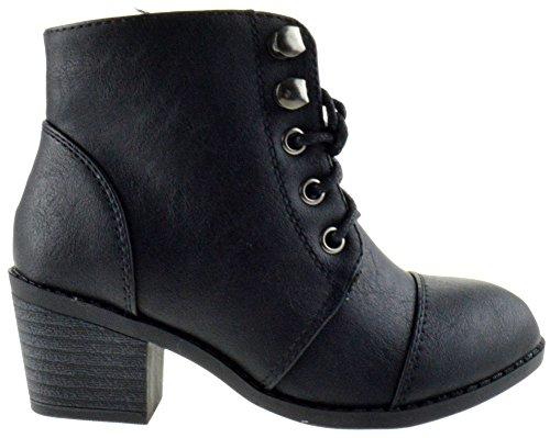 Eury 3K Little Girls Ankle Heel Lace Up Boots Black