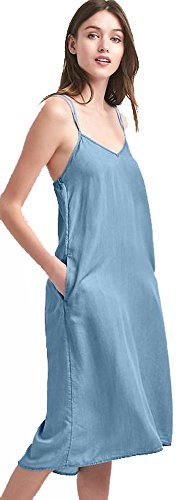Gap Womens Blue Chambray Cami Sun Dress Medium 8 10 (Gap Blue Dress)