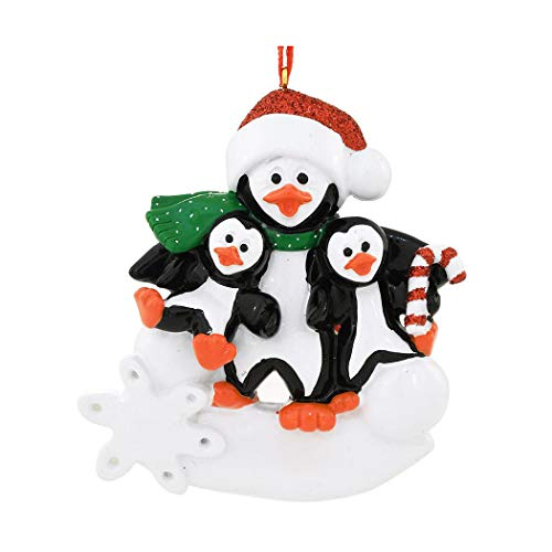 Personalized Parent Penguin with 2 Children Christmas Tree Ornament 2019 - Happy Kid Winter Holiday Foster Appreciate Tradition Day Year Dad Father Mom Mother Aunt Baby-Sitter - Free Customization ()