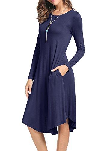 levaca Womens Fall Long Sleeve Draped Casual Swing Party Dress Deep Blue - Dress Soft