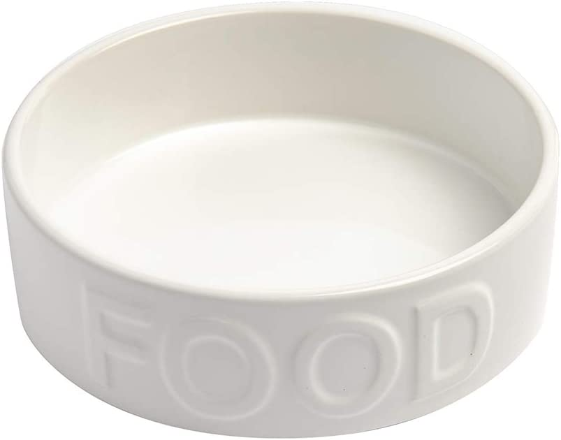 Park Life Designs Classic Food-Embossed Bowl, Heavyweight Ceramic Pet Dish Stays Put, Microwave and Dishwasher Safe