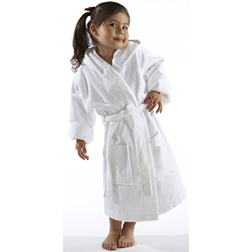 TurkishTowels Terry Velour Hooded Kids Bathrobe (Ages 3-6, White)