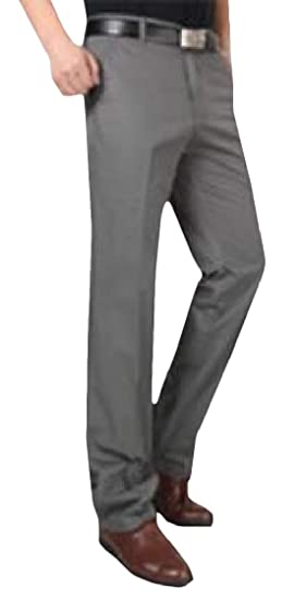 Macondoo Mens Straight Leg Classic Fit Business High Waisted