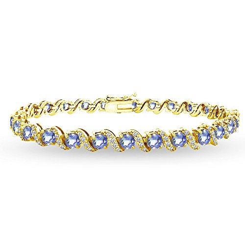 Yellow Gold Flashed Sterling Silver Tanzanite 4mm Round-Cut S Design Tennis Bracelet with White Topaz Accents by GemStar USA