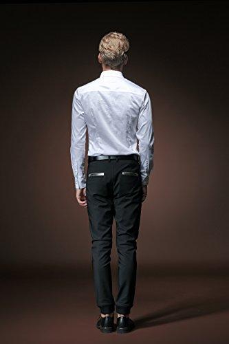 Classica Moda Men Maniche Fit Fanzhuan Lunghe Uomo Bianco Shirt Slim Camice Elegante qx408