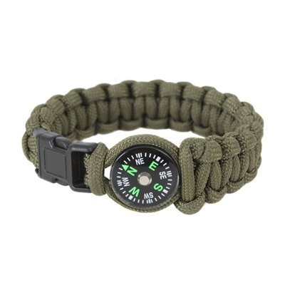 """Olive Drab Polyester Paracord Bracelet w/ Buckle & Compass, Size 9"""""""