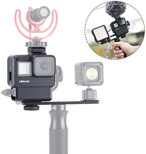A-artman Protective Housing Case Vlogging Frame Cage Mount with Microphone Cold Shoe Adapter Compatible for GoPro 7 6 5 Action Camera Accessories