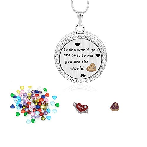 Birthstone Necklaces for Mother Day Gifts with 36 Birthstone Charms,Floating Living Memory Locket Pendant Necklace,Memorial Birthstone Graduation Gift