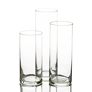 Eastland Glass Cylinder Vase Set of 3 from Quick Candles