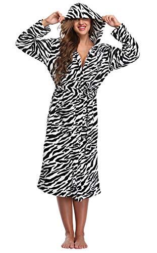 WitBuy Women's Soft Fleece Long Robe Warm Hooded Plush Bathrobe Animal Loungewear Zebra L/XL (Zebra Bathrobes For Women)