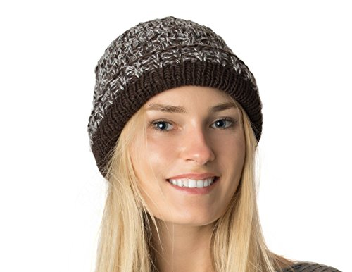 an Floppy Beanie Hat Brown Diamond Crochet Knit Slouchy Knit Cap Lined Midweight
