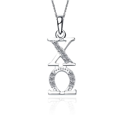 Greek Star Chi Omega Vertical Silver Lavalier CO-P001