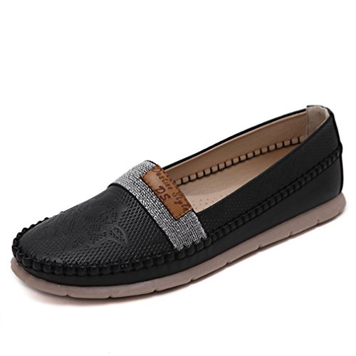 CYBLING Fashion Comfort Women Slip On Loafers Shoes for Outdoor Casual Walking Soft Soled Flats Black 0Ullr1T2SU