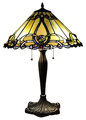 Chloe Lighting CH18A518-TL2 Tiffany-Style Victorian 2-Light Table Lamp with 18-Inch Shade
