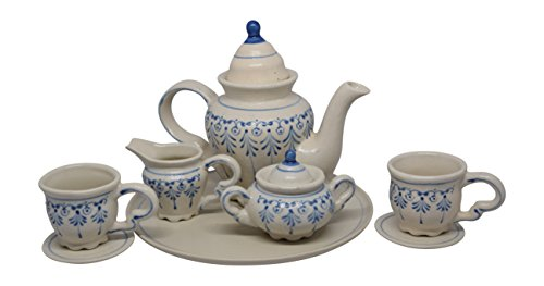 10 Piece Vintage Blue Tea Set with Teapot, Sugar, Creamer, Two Cups and Saucers, and Plate