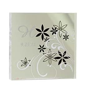 Hortense B. Hewitt Wedding Accessories, Modern Floral Cake Top, Black and White, 4-Inch x 4-Inch