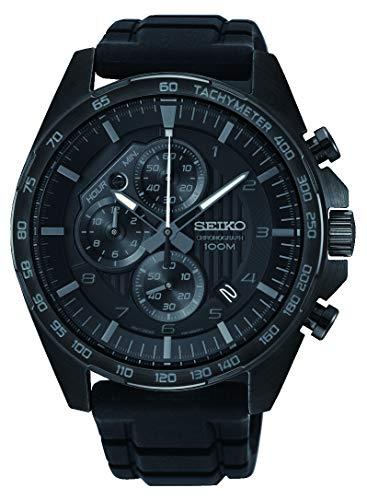 (Seiko Men's 43.9mm Black Silicone Band Titanium Case Hardlex Crystal Quartz Analog Watch SSB327P1 )
