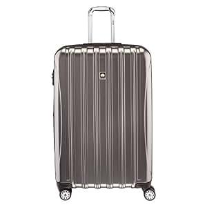 Delsey Luggage Helium Aero, Large Checked Luggage, Hard Case Spinner Suitcase, Titanium