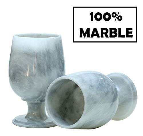 RADICALn Wine Glasses Set of 2 Handmade Marble 5.5 x 3.5 Inches 10.1 oz Antique Wine Glass Set - Modern Bar Marble Stone Bourbon Champagne Glasses - Suitable for Small Gathering & Home Decor (White)