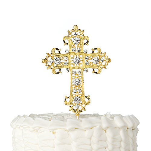 Ella Celebration Cross Cake Topper, Religious Wedding, Baptism, Christening, Dedication, First Communion, Christian Decoration -