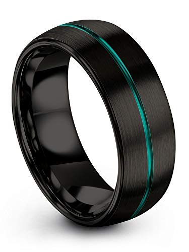 ion Tungsten Wedding Band Ring 8mm for Men Women Green Centerline Black Interior Dome Brushed Polished Size 10 ()