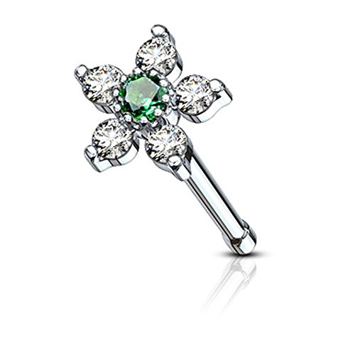 Pink Gem Nose Bone - Forbidden Body Jewelry 20g Surgical Steel Nose Stud with Big Bling 6-CZ Crystal Flower, Green/Clear