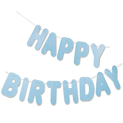 Happy Birthday Letter Banner - Light Blue, Hanging Party Decoration Backdrop - Large Pre-Strung Glittery Birthday Sign Garland - Great for Boys Birthday Parties - 10.5 Feet - Boy Letter Banner