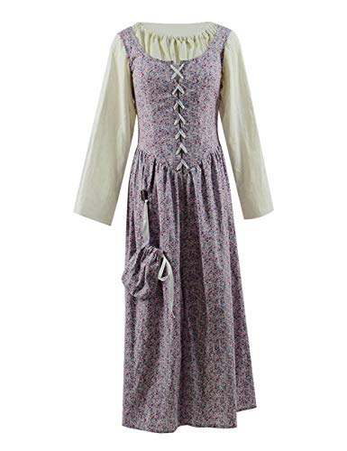 England Halloween Customs (Dahee Women's Medieval Vintage England Country Girl Cosplay Costume Classic Dress Halloween (Custom Made,)