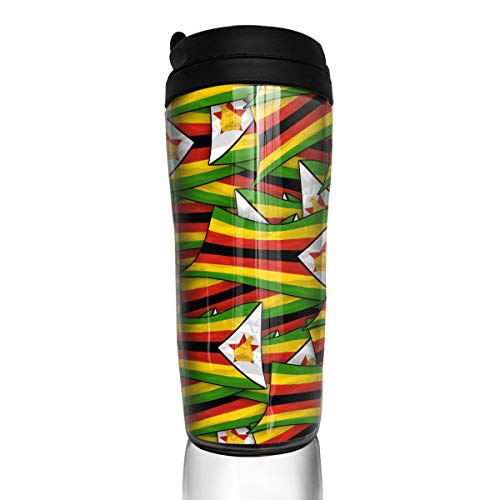 YILISA Travel Coffee Mug Zimbabwe Flag Wave Collage 12 Oz Spill Proof Flip Lid Water Bottle Environmental Protection Material ABS