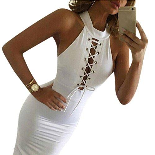 zolimx Las mujeres vendaje Club Bodycon sin mangas Cocktail fiesta corbata vestir Blanco