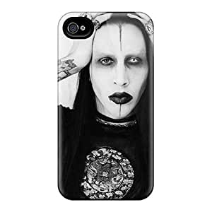 Protector Hard Cell-phone Cases For Iphone 4/4s With Custom Lifelike Marilyn Manson Band Pattern SherriFakhry