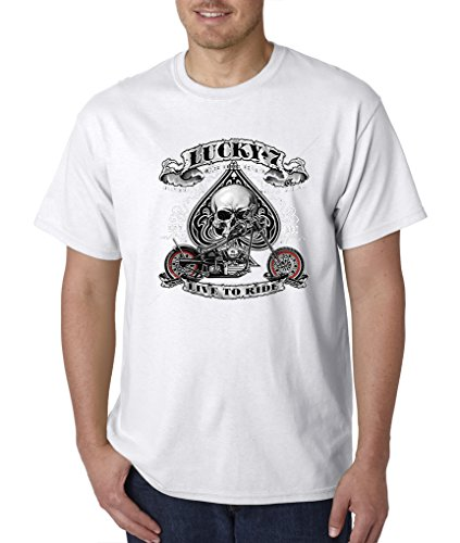 Lucky Seven, Motorcycle Mens T-shirt, Spade Skull Chopper S-5XL - White - ()
