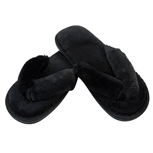 JOINFREE Women's Furry Slippers Soft Plush Thong Spa Indoor Flip-Flop Shoes Black 9.5-10.5 M (Elastic Thong Flip Flops)