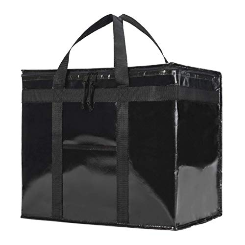 NZ Home Commercial Insulated Grocery Bag | Sturdy Zipper Top | Collapsible | Heavy Duty | Stands Upright | Ideal for Professional Shoppers | Black ... (XL Professional Black, 1)