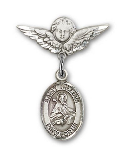 Icecarats Créatrice De Bijoux En Argent Sterling St. William De Rochester Charme Ange Pin Badge 7/8 X 3/4