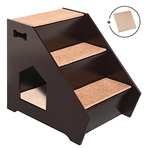 Arf Pets Cat Step House – Wooden Pet Stairs w/3 Nonslip Steps, Built-In House For Dogs, Cats & Short Pets to Reach Bed, Couch, Window, Car & More Extra BONUS Cushion Included