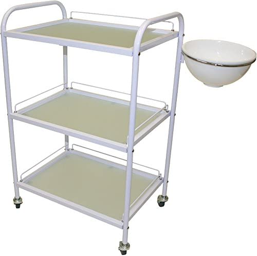 White All Purpose Roller Trolley with Removable Utility Bowl