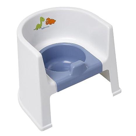 Safetots Dinosaurier Toilettenstuhl Weiß mit blauem Töpfchen