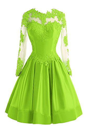 Bess Bridal Women's Sheer Lace Long Sleeve Short Prom Homecoming Dresses US6 Lime Green