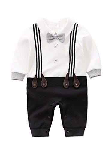 D.B.PRINCE Baby Boys Long Sleeves Gentleman Cotton Rompers Small Suit Bodysuit Outfit with Bow Tie (0-3 Months, black2)]()