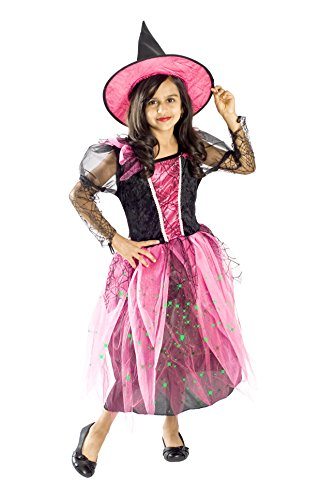 Witch Costume for Girls Black Light up Pink Size Small Medium Large 4-6, 6-8, 8-10L (8-10) (Cute Little Girl Halloween Costumes)