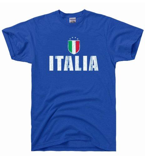 DirtyRagz Men's Italia Futbol Soccer Flag Vintage T Shirt M - Shirt Print Flag
