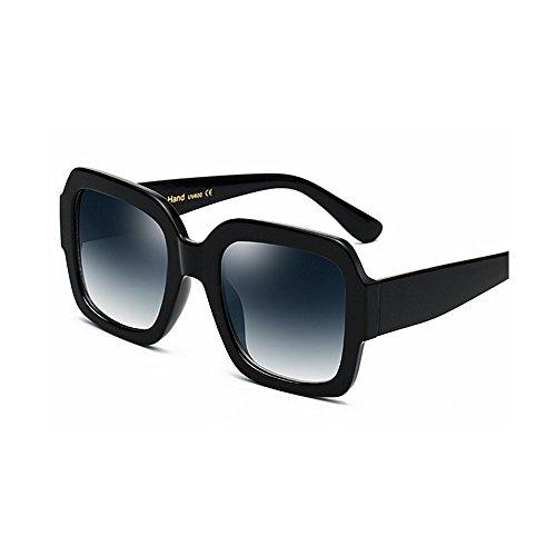 Sol Sol Mujeres cuadradas de Grandes la Gafas tamaño Color Elegante y de señora de Viajar para Negro Sol con Gran de Negro Gafas Protección Borde para Unisex Gafas UV Hombres de 50wRRq