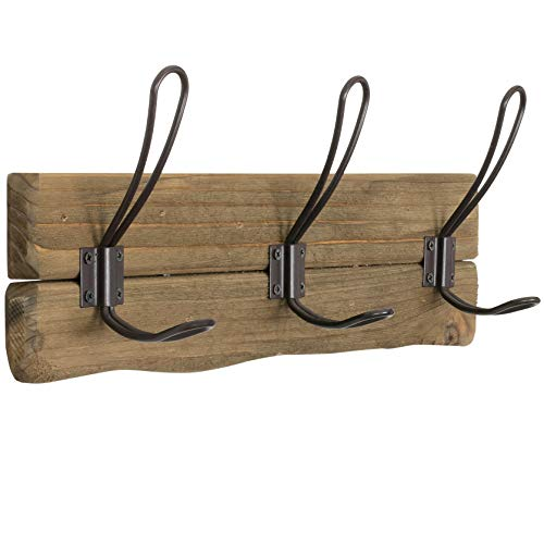 LULIND - Rustic Wall Mounted Coat Rack with 3 Brown Hooks (Real Cedar Wood) ()