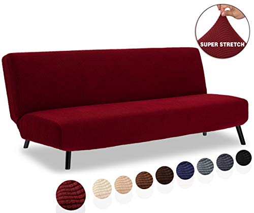 TIANSHU Armless Sofa Cover, Stretch Sofa Bed Cover, Anti-Slip Protector for Couch Without Armrests, Spandex Jacquard Fabric Slipcover Futon Cover (Futon, Dark Wine)
