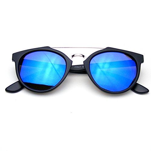 Sunglasses Mirror Flash (Vintage Inspired Dapper Cross Bar Flash Mirror Lens Sunglasses (Blue))