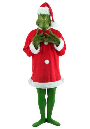 elope Dr. Seuss Santa Grinch Costume Deluxe with Mask, Green, (A Grinch Costume)